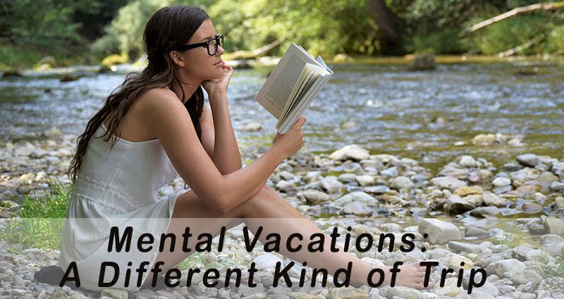 Woman reading near creek