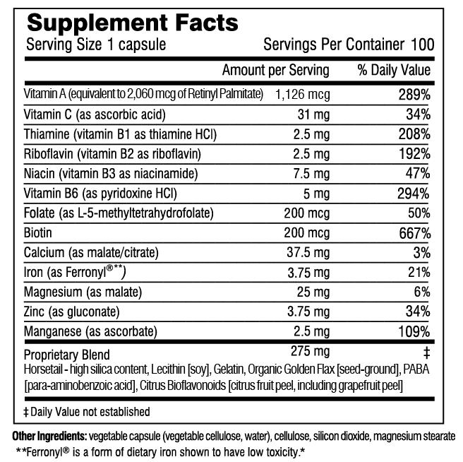 Hair Skin & Nails Plus Formula supplement facts