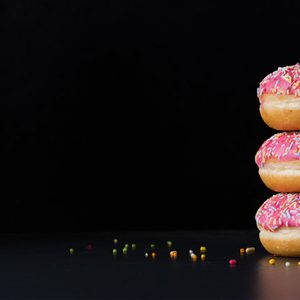 3 donuts with frosting stacked