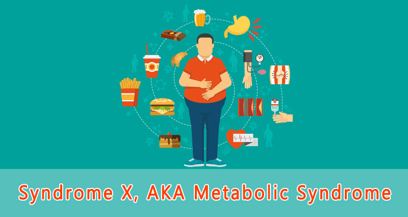 Cartoon of man with metabolic syndrome with unhealthy food around him