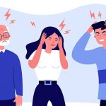 illustrated people holding their heads from stress